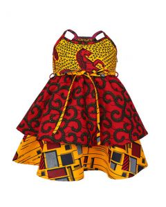 GIRLS MIXED ANKARA DRESS - MULTICOLORED