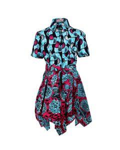 GIRLS HANDKERCHIEF ANKARA DRESS - BLUE