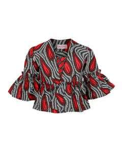 GIRLS ANKARA BLOUSE AND JACKET SET-MULTICOLOR