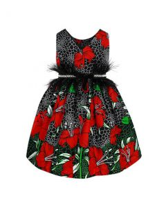 GIRLS ANKARA PARTY DRESS WITH EMBELLISHMENT - MULTICOLORED