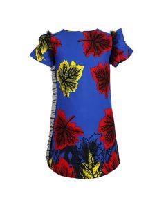GIRLS ANKARA DRESS WITH LEAF PRINT - BLUE