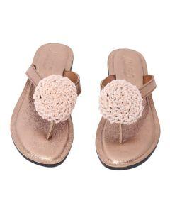 Female Beaded Slippers-Cream-Shoe Size UK 4