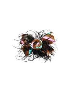 GIRLS ANKARA HAIRBAND WITH FEATHER -  MULTICOLORED