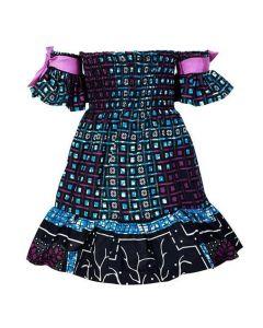 GIRLS ANKARA OFF-SHOULDER DRESS - BLUE