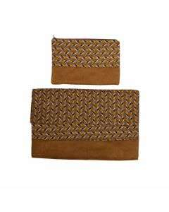 Laptop cover + pouch Brown/Yellow - 13''