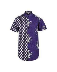 BOYS MIXED ANKARA SHIRT - PURPLE