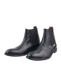 METAL  Joint Chelsea Boot (Black Leather)