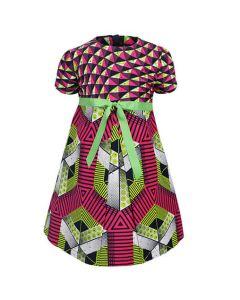 GIRLS ANKARA FIT&FLARE DRESS - MULTICOLORED
