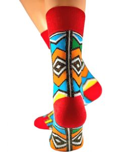 Red Ndebele Gold Glitter Coated Socks
