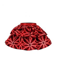 GIRLS ANKARA SKIRT WITH TWO TIER FLARE - RED
