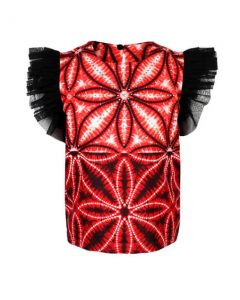 GIRLS ANKARA BLOUSE WITH TULLE SLEEVE - RED